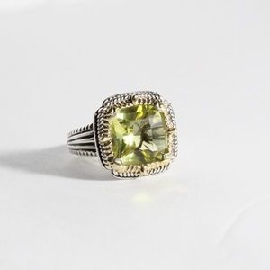 Jewelry - DESIGNER 925 & 14K Gold Peridot Cocktail Ring 7.5